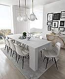 Home Innovation - Table Console Extensible, rectangulaire avec rallonges, jusqu'à 237 cm, pour Salle à Manger et séjour, Blanc Brillant. JusquŽà 10 Personnes. Dimensions fermée : 90x50x78 cm.