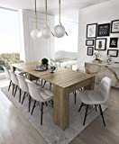 Home Innovation - Table Console Extensible, rectangulaire avec rallonges, jusqu'à 237 cm, pour Salle à Manger et séjour, chêne Clair brossé. JusquŽà 10 Personnes. Dimensions fermée : 90x50x78 cm.