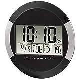 Hama Horloge murale numérique 'PP-245'  (horloge avec thermomètre, réglage du fuseau horaire, calendrier et phase de lune, diamètre de 24,5 cm) noir / argent