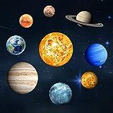 Goeco 9pcs Stickers Muraux Lumineux, 3D cool sphère lumineuse étoile fond, Neuf planète DIY décoration pour la maison, chambre enfant