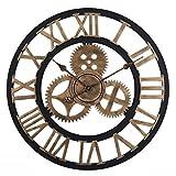 OviTop 60cm Horloge Murale XXXL Pendule Industriel Horloge Silensieuse Horloge Decorative pour Salon, Salle, Chambre, Bureau