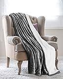 Utopia Bedding Couverture Plaid Peluche Effet Mouton Réversible (200 x 150 cm) - Super Chaude - Couverture de canapé Confortable et légère (Gris)