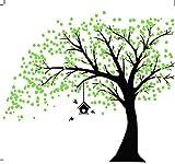 MAFENT Sticker Mural géant Arbre Noir avec Feuilles Vert Oiseaux et Birdcage DIY Sticker Mural en Vinyle pour bébés Enfants Enfants Chambre décoration (Black,Green)