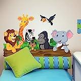 wall art R00145Sticker Mural pour Enfant Animaux de la Jungle, Papier Peint Multicolore, 100x 30cm