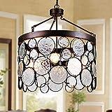 Plafonnier Loft Pendentif en Métal Lumières Art Deco Suspension Lampe Lampe En Verre for Salon Simple Café Bar Suspensions, 3xE27xMax60W, D36 * H46CM
