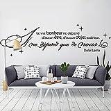decalmile Stickers Muraux Citations Le Vrai Bonheur ne dépend d'aucun être Autocollant Mural Texte Chambre Salon Bureau Décoration Murale