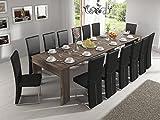 Home Innovation - Table Console Extensible rectangulaire avec rallonges, jusqu'à 301 cm, pour Salle à Manger et séjour, chêne foncé brossé. JusquŽà 14 Personnes