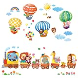 DECOWALL DA-1406 Train Animaux & Montgolfières Autocollants Muraux Mural Stickers Chambre Enfants Bébé Garderie Salon