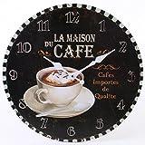 Jones Home et la Maison du Cafe Rustique Cadeau Horloge Murale, Multicolore, 34cm