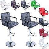 TRESKO Lot de 2 Tabourets de Bar Chaise de Bar Chaise Lounge avec Dossier et accoudoir, 8 Couleurs différentes, chromé, Rotation à 360°, Hauteur réglable de 62,0 à 82,5 cm (Gris)