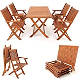 Deuba | Ensemble de Jardin 4+1 • en Bois d'acacia certifié FSC • Sydney • 1 Table et 4 chaises Pliables | Salon de Jardin