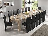 Home Innovation - Table Console Extensible rectangulaire avec rallonges, jusqu'à 300 cm, pour Salle à Manger et séjour, chêne Clair brossé. JusquŽà 14 Personnes