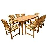 Tidyard Ensemble de Mobilier de Jardin 9 pcs 1 Table et 8 Chaises en Bois d'acacia Massif Marron 200 x 90 x 74 cm