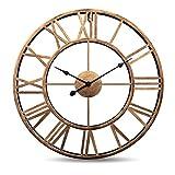 Horloge murale vintage,47cm (18.5'), ferronnerie 3D faite à la main dans une horloge européenne à quartz de style vintage, grande horloge murale silencieuse sans sons de tiques (Or)