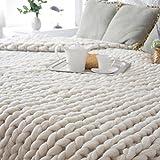 Momola Spécial main Chunky tricoté couverture épaisse laine merinos gros tricot chaleur jeter 80x100cm (Beige)