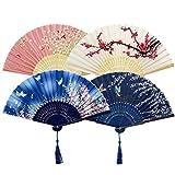 Ventilateurs Pliables,4 Pack Fans de Bambou Éventails Ventilateur Japonais Soie et Bambou Ventilateur avec Gland pour Décoration Mariage Danse Fête Faveur