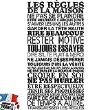 Sticker Mural Beestick - Les Règles de La Maison 61x120 cm (Noir) - Pose Facile - Stickers Muraux Citations - Fabrication France