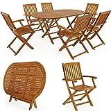 Deuba | Ensemble de Jardin 6+1 • en Bois d'acacia certifié FSC • Boston • 1 Table et 6 chaises Pliables | Salon de Jardin