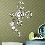 Forepin Horloge Murale Design Vintage Silencieuse DIY Muraux Décoration Amovible Clock Sticker Autocollants Bricolage Miroir Moderne 3D Industrielle pour Salon Chambre Bureau Maison - Argenté
