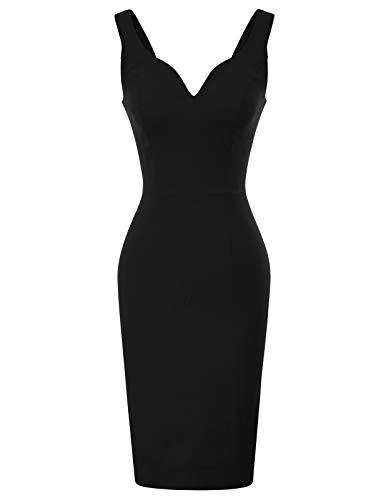 GRACE KARIN Robe Crayon en Col V Profond Hanche Femme Sexy sans Manche Robe de Soiree Elegante Bodycon Noire L CL987-1