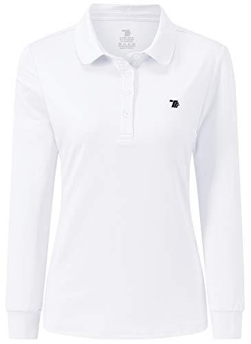 JINSHI Femme Polo Shirt à Manches Longues Sport Golf Tops d'hiver Blanc XL