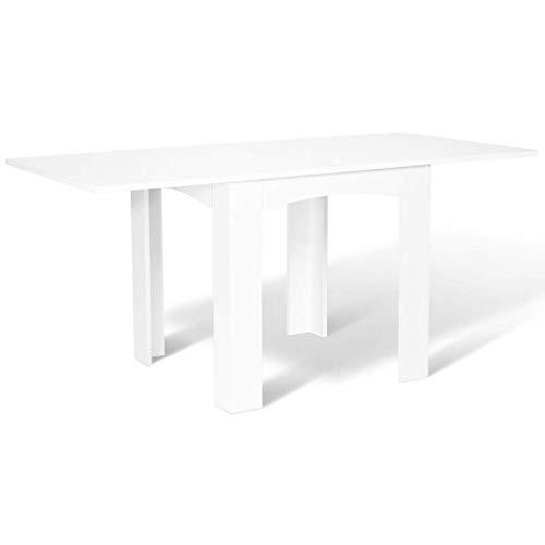 IDMarket - Table à Manger Extensible Dona 6-8 Personnes Blanche 80-160 cm