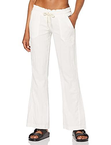 Roxy Oceanside-Pantalon en Lin Coupe Flare pour Femme, Sea Salt, FR : S (Taille Fabricant : S)