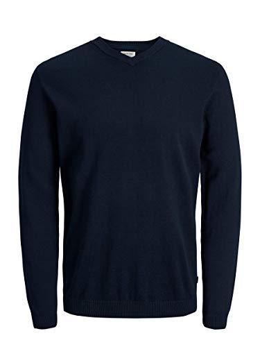 Jack & Jones Jjebasic Knit V-Neck Noos Pull, Bleu (Navy Blazer), Medium Homme