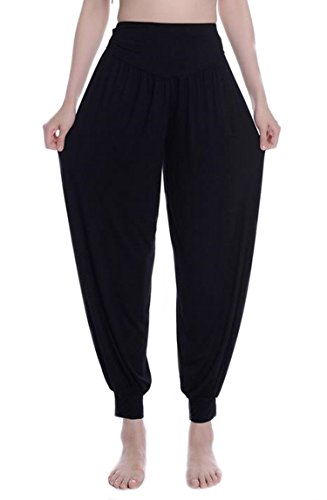 MESHIKAIER Super Doux Sarouel Pantalon Femme en Modal Pantalon Yoga Pantalon Harem Pantalon Bouffant pour Sport Jogging DanseÉlastique et Extensible (Taille XL, Noir)