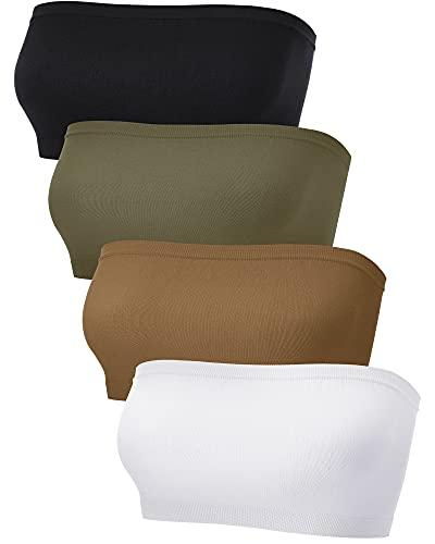 4 Soutiens-Gorge Bandeau Femme (S-M, Chocolat, Vert Clair, Blanc, Noir) prix et achat