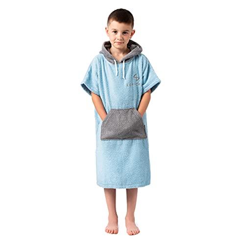 Poncho de Surf Pour Enfant- Eponge 100% coton - Bleu clair - Poncho Enfant, Fille, Garcon Poche Capuche - Idéal pour Surf, Plage, Piscine, Serviette de Bain/Sport- Poncho Éponge Enfant 6-13 ans