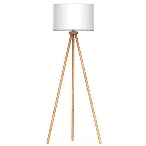 Tomons Lampadaire Sur Pied LED en Bois à Trépied Blanc Protection Des Yeux Lecture Lampe à Pied du Design Moderne Nordique pour Salon Chambre Bureau