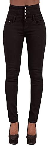 Glook Pantalon Femme Denim Jeans Slim Taille Haute Jean Stretch Pant (38, Noir),M