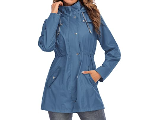 Skynewer Manteau de pluie imperméable à capuche à manches longues pour femme - Léger et coupe-vent - Pour le camping et la randonnée