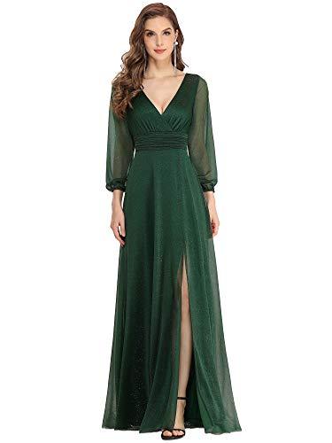 Ever-Pretty Robe de Soirée Manches Longues Brillants Femme Longue Col V Fendue Vert Foncé 40