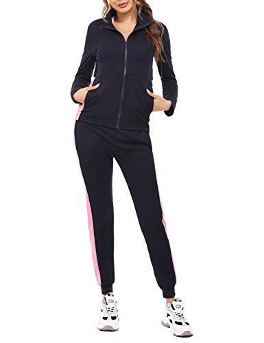 Akalnny Femme Survêtement Ensembles 2 Pièces Sportswear Manches Longues Suit Fermeture...