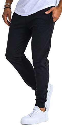 Björn Swensen Pantalon de jogging, en coton, pour homme, coupe ajustée - Noir - Large