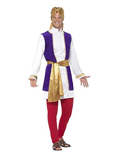 Smiffys Costume prince d'Arabie, Multicolore, avec haut, gilet, pantalon, ceinture et tu