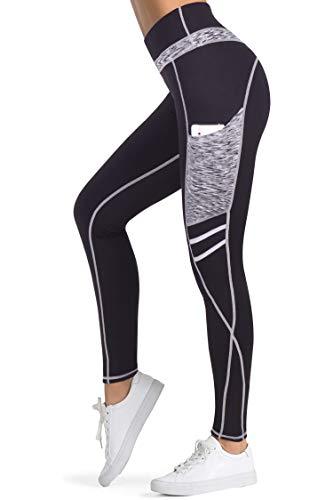 3W GRT Legging femmes, Legging de Sport Femme,Pantalon Yoga avec Poche,Taille Haute Femmes Mode Faire des exercices leggings,Pantalon de Pilates,Fitness (Noir&Gris-331, XL)