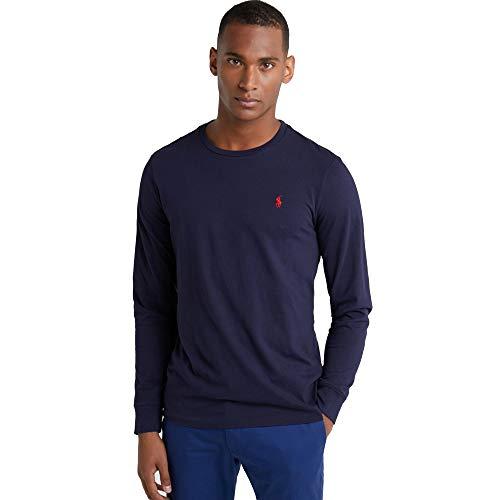 Ralph Lauren t-Shirt à Manches Longues pour Homme Custom Fit (M, Bleu Marine)