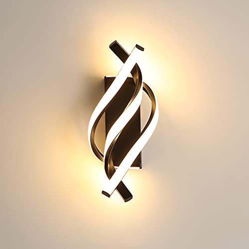 Applique Murale à LED, Lampe Murale Moderne 18W Design incurvée 3000K lumière Blanche Chaude, 1200 lumens, Noir, pour Chambre à Coucher, étude