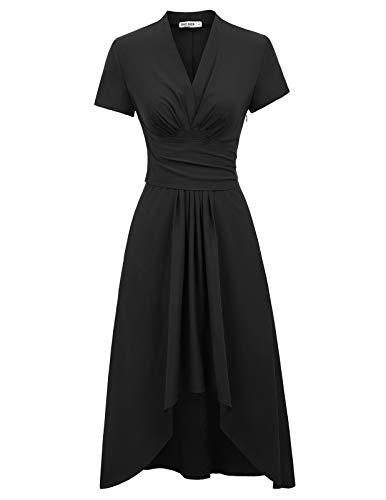 GRACE KARIN Femme Robe de Soiree Ceremonie Vintage Retro 1950 Col V Profond Cache Coeur Robe asymétrique Partie L CL073-1