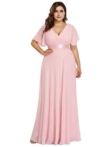 Ever-Pretty Robe de Soirée Longue Femme Double Col V Manche Courte Grande Taille Rose Clair 44