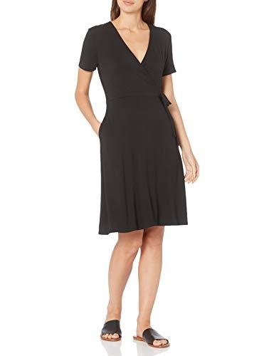 Amazon Essentials Cap-Sleeve Faux-Wrap Dress, Noir, L