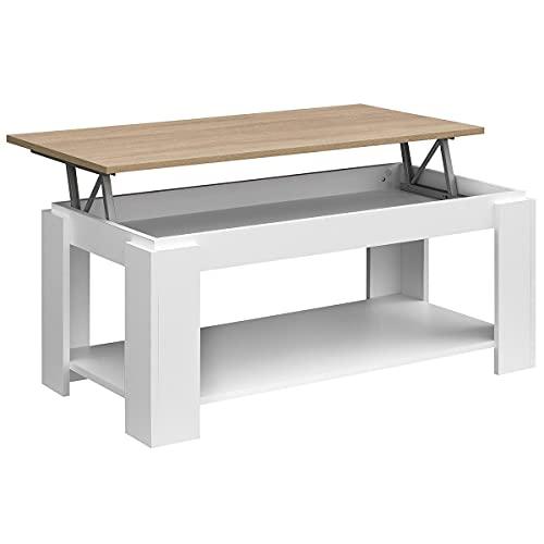 COMIFORT Table Basse Relevable - Meuble avec Porte-Revues...