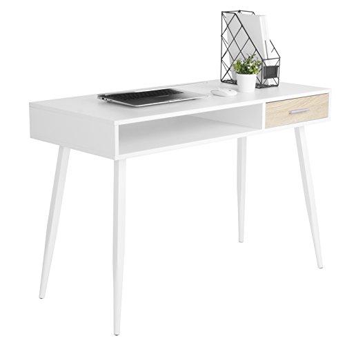 WOLTU TS39ws Bureau d'ordinateur Table de Bureau en Acier et MDF,Table de Travail PC Table d'ordinateur Portable avec 1 tiroir et 1 Compartiment Ouvert,110x50x75cm (LxPxH),Blanc