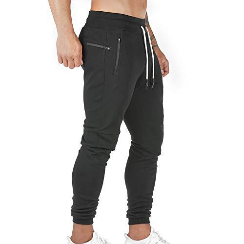 Pantalon de Jogging Homme Pantalon Sport en Coton Taille Elastique Pantalons de Survêtement Poche Disponible Jogger Survêtement Training Pants Pantalon Cargo Casual Activewear Sweatpants (Noir, XL)