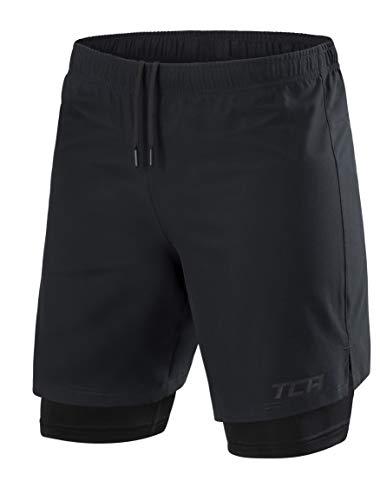TCA Homme Ultra 2 en 1 Short de Course à Poche Zippée & Short de Compression Intérieur -...