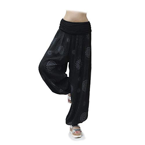 Glamexx24 Pantalons décontractés Sarouel légers pour Femmes Pantalons décontractés Pantalons d'été avec Beaucoup de Motifs,Cercle Noir,M-L