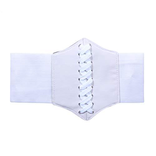 Ceinture femme élastique élastique taille haute ceinture ceinture ceinture large avec des robes bande large pour dame 60-80cm (blanc)